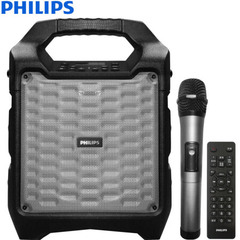 飞利浦(PHILIPS) SD55 广场舞K歌户外直播蓝牙音箱 便携式拉杆手提音响 无线麦克风扩音器